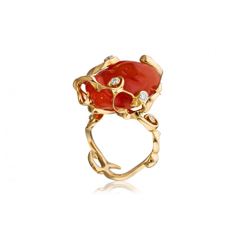 Кольцо с опалом и бриллиантами