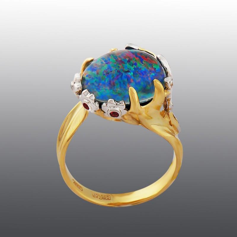 Кольцо с опалом, бриллиантами и родолитами