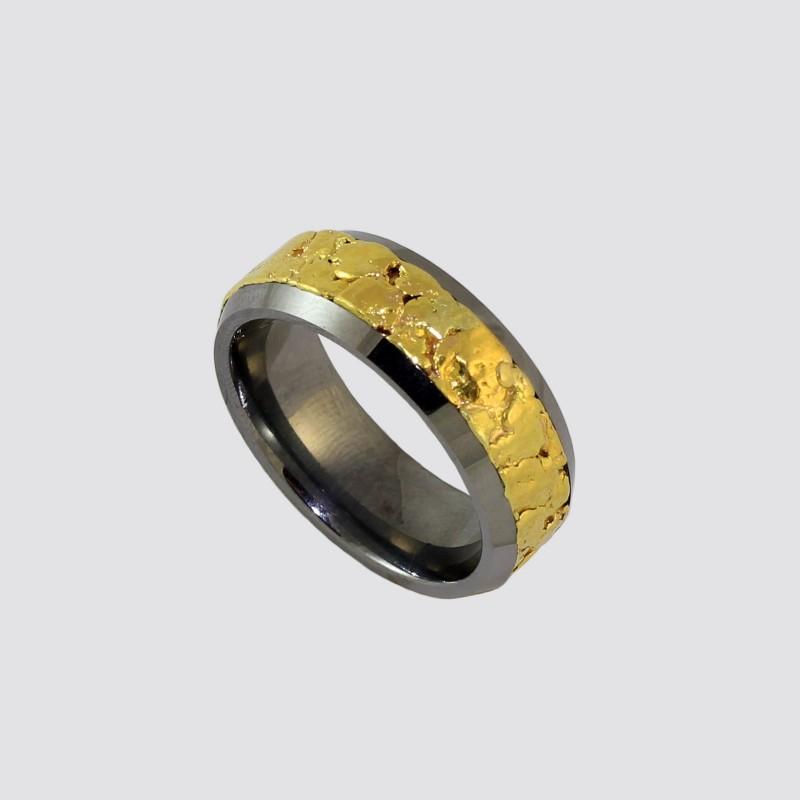 Кольцо из вольфрама с самородками